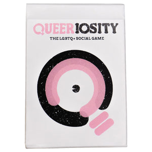 "A white card box with black and pink circles on it and ""Queeriosity"" written at the top."