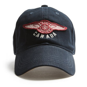 "A navy blue ballcap with a ""Air Service Canada"" patch on it."