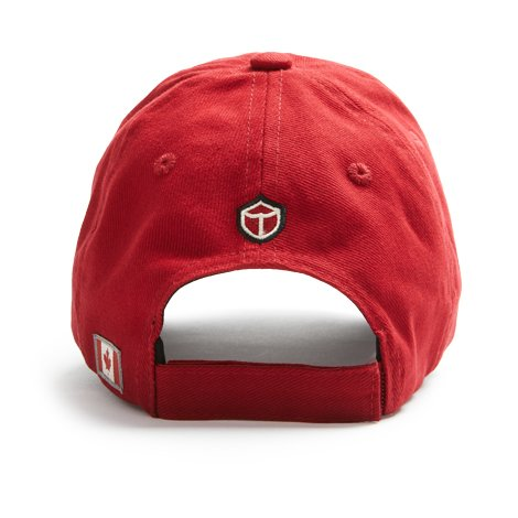 "The back of the red ballcap with small ""Red Canoe"" logo and Canadian flag patches on it."