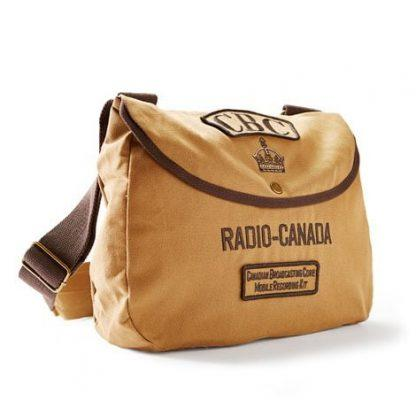 "A tan shoulder bag with brown straps decorated with ""CBC"", crown, ""Radio-Canada"", and ""Canadian Broadcasting Core"" patches."