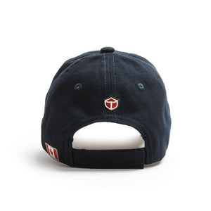 "The back of the navy blue ballcap with small ""Red Canoe"" logo and Canadian flag patches on it."
