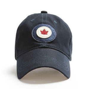 "A navy blue ballcap with a ""RCAF"" logo patch on it."