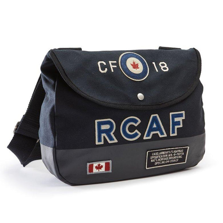 "A navy blue shoulder bag with ""RCAF"", Canadian flag, Air Force Specs, And ""CF-18"" patches on it."
