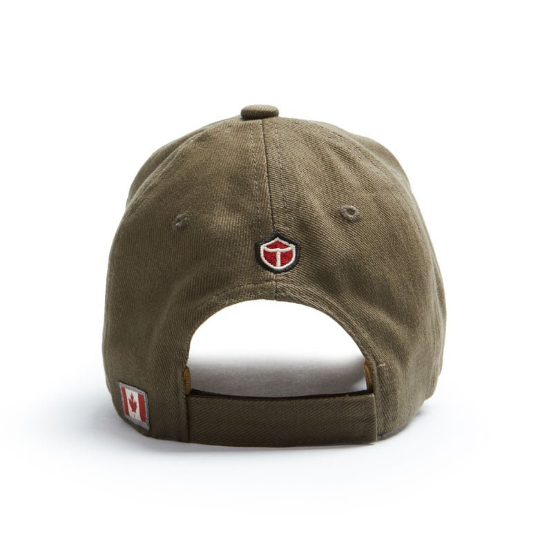 "The back of the khaki coloured  ballcap with small ""Red Canoe"" logo and Canadian flag patches on it."