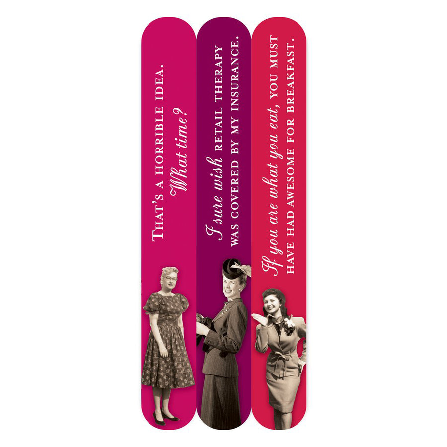 A trio of nail files in magenta tones with images of women and a variety of sayings on them.