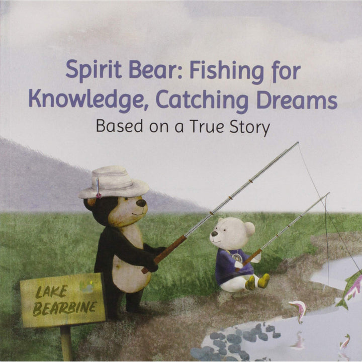 The cover of the book, that depicts two cartoon bears fishing.