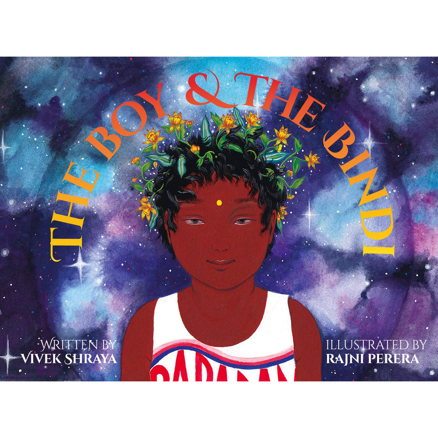 The cover of the book depicting the title and a boy with flowers in his hair and a bindi on his forehead.
