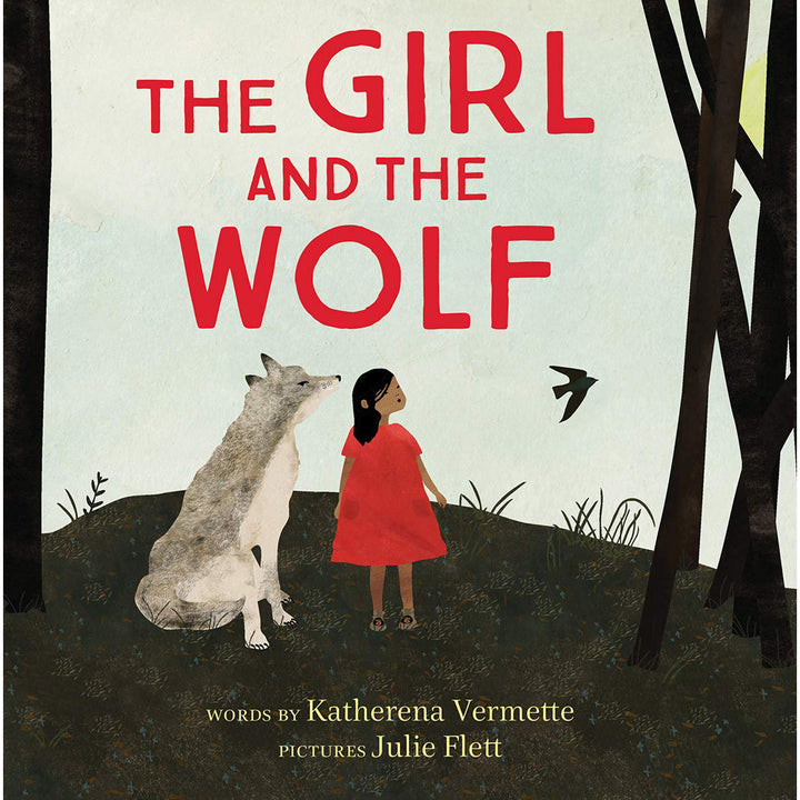 The cover of the book depicting the title and a young indigenous girl standing next to a wolf.
