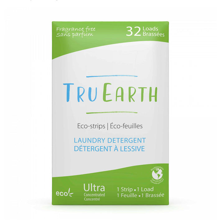 "A green and white cardboard envelope with ""Tru Earth"" branding and information."