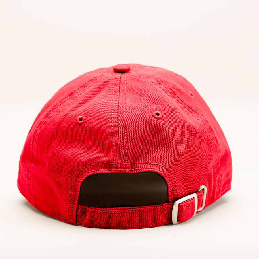 The back of the red ballcap.