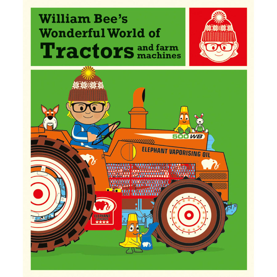 The cover of the book depicting the title and a cartoon man on a tractor.