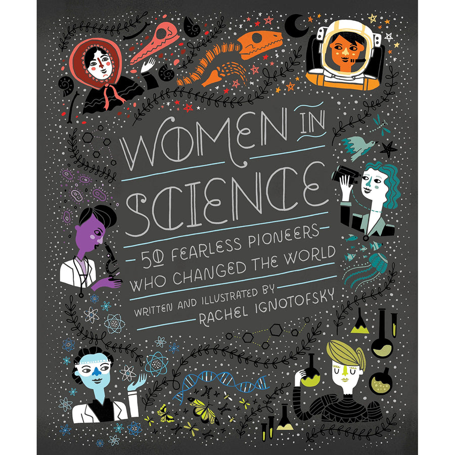 The cover of the book depicting the title and 6 cartoon versions of famous women of science.