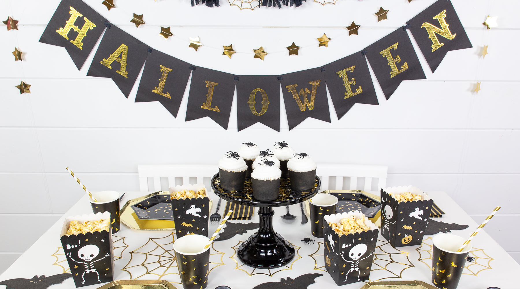 Black and Gold Bat Halloween Party