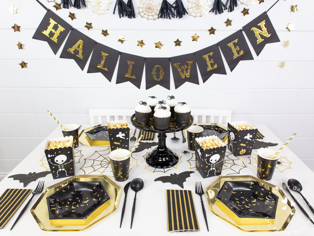 Black and gold Halloween table setting
