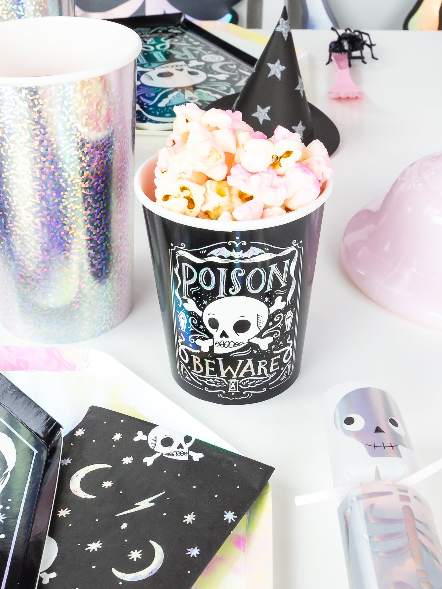 Halloween cups with popcorn