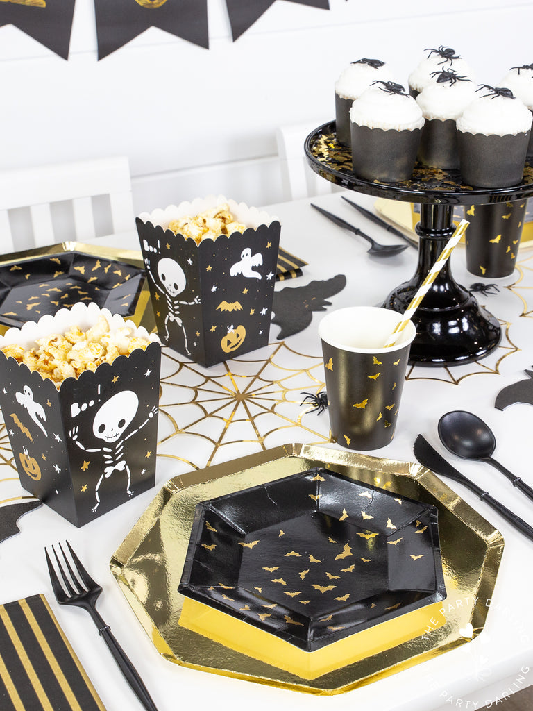 Black and gold Halloween place setting