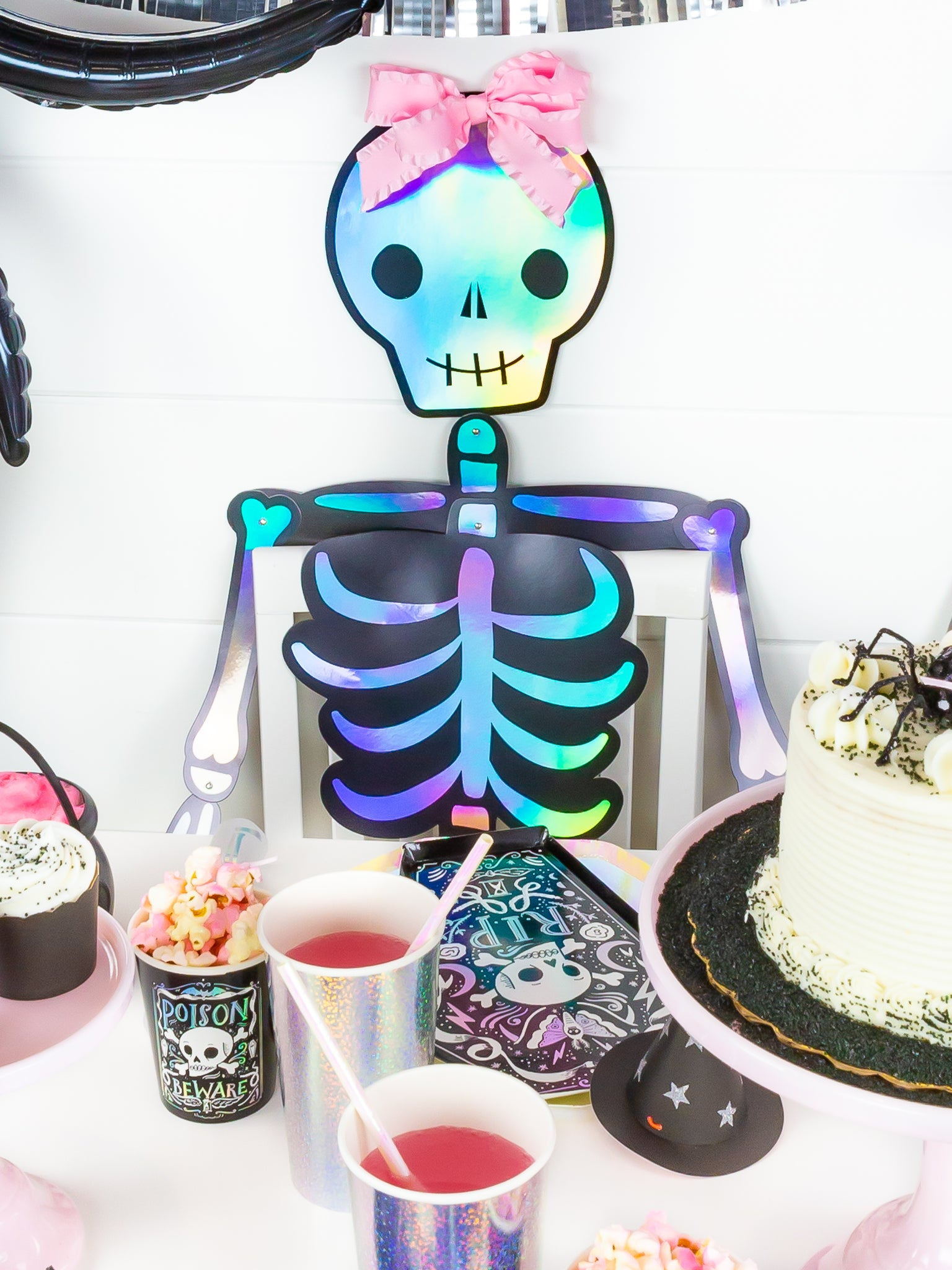Halloween skeleton with pink bow