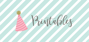 Printable party supplies and decorations. Party printables for birthday parties, baby shower, free printables. Cheap printable banner letters to personalize your party.