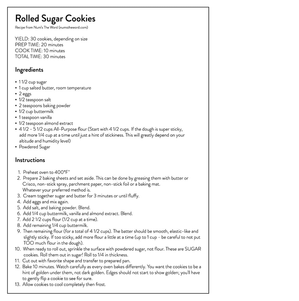 Rolled Sugar Cookies Recipe