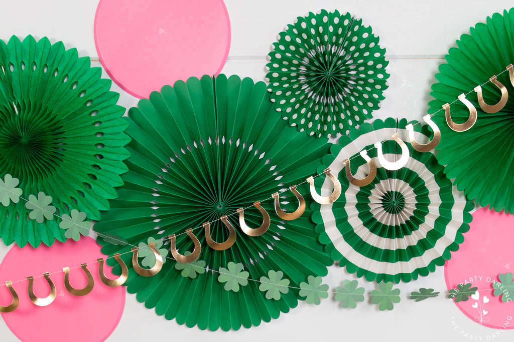 St Patrick's Day green and pink backdrop