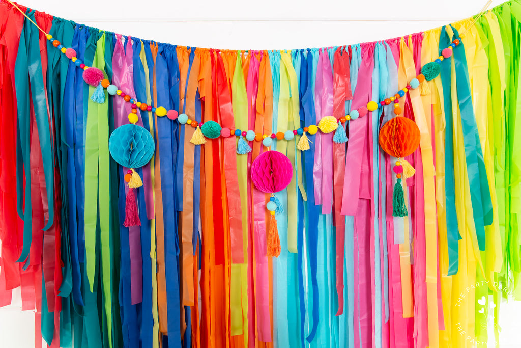 boho fiesta plastic tablecloth fringe backdrop
