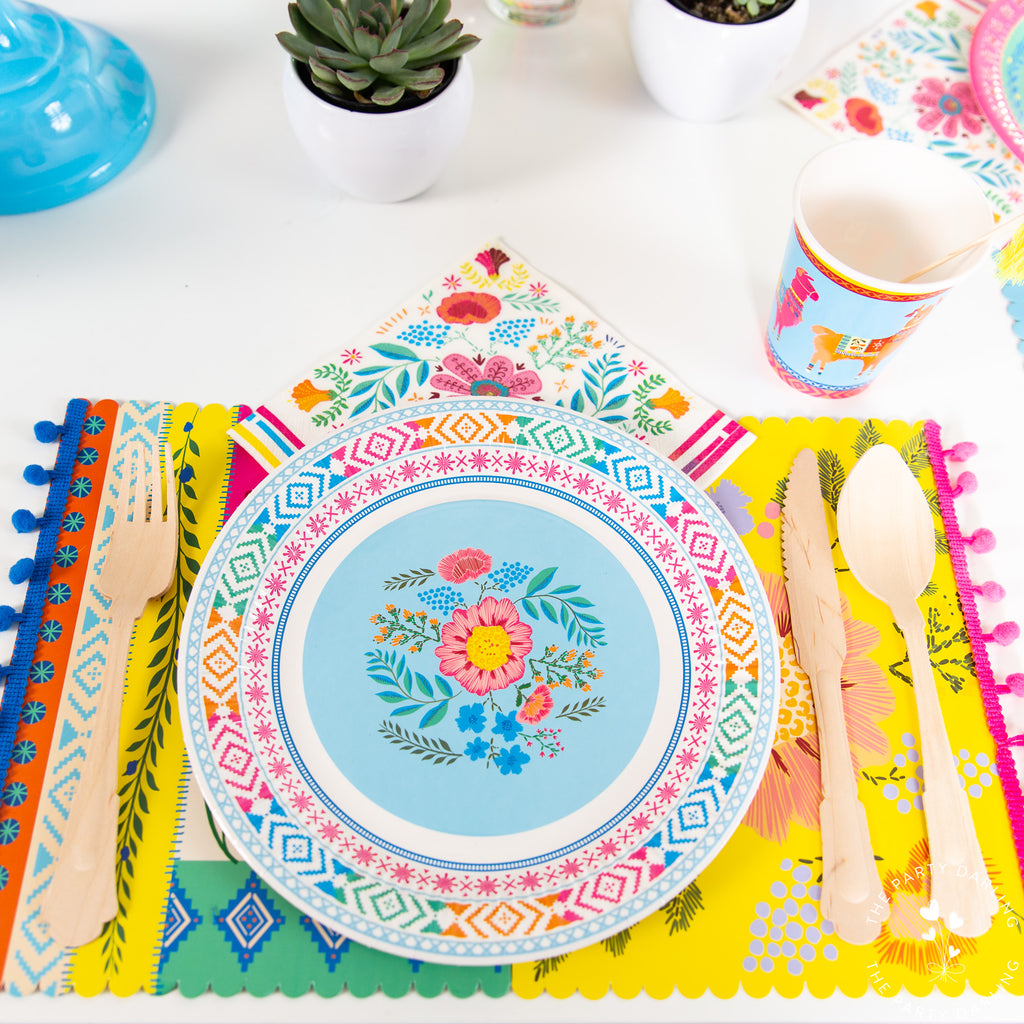 boho fiesta floral place setting blue