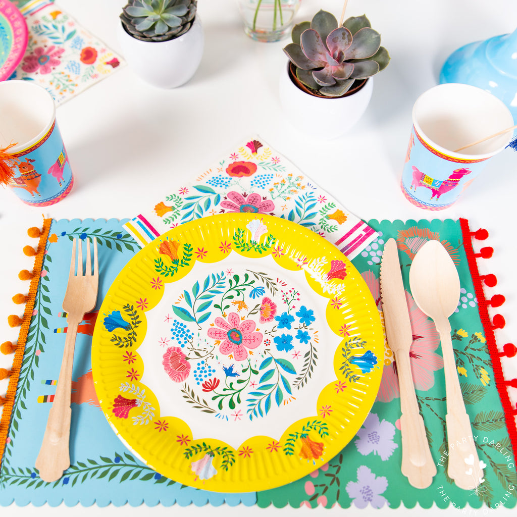 boho fiesta floral place settings