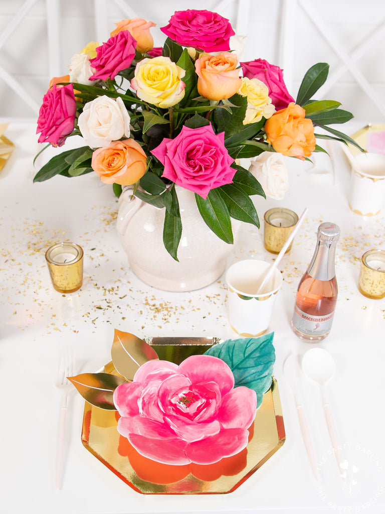 floral brunch table setting