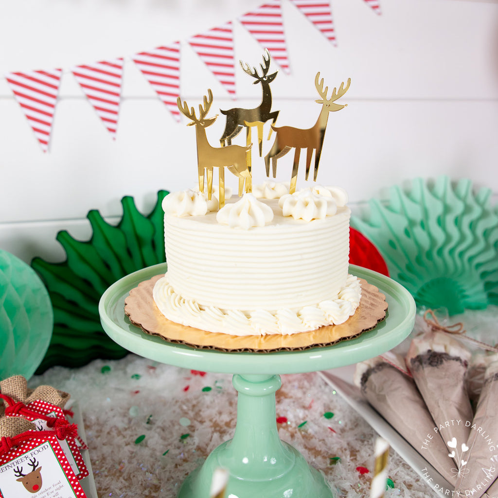 gold reindeer cake toppers