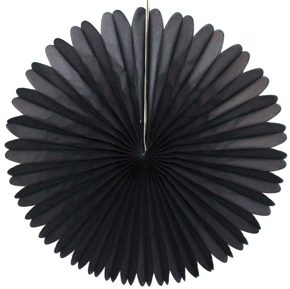 "13"" Black Tissue Paper Fan 