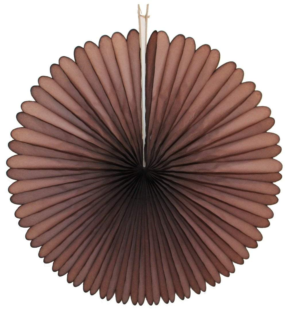 "13"" Dark Brown Tissue Paper Fan"