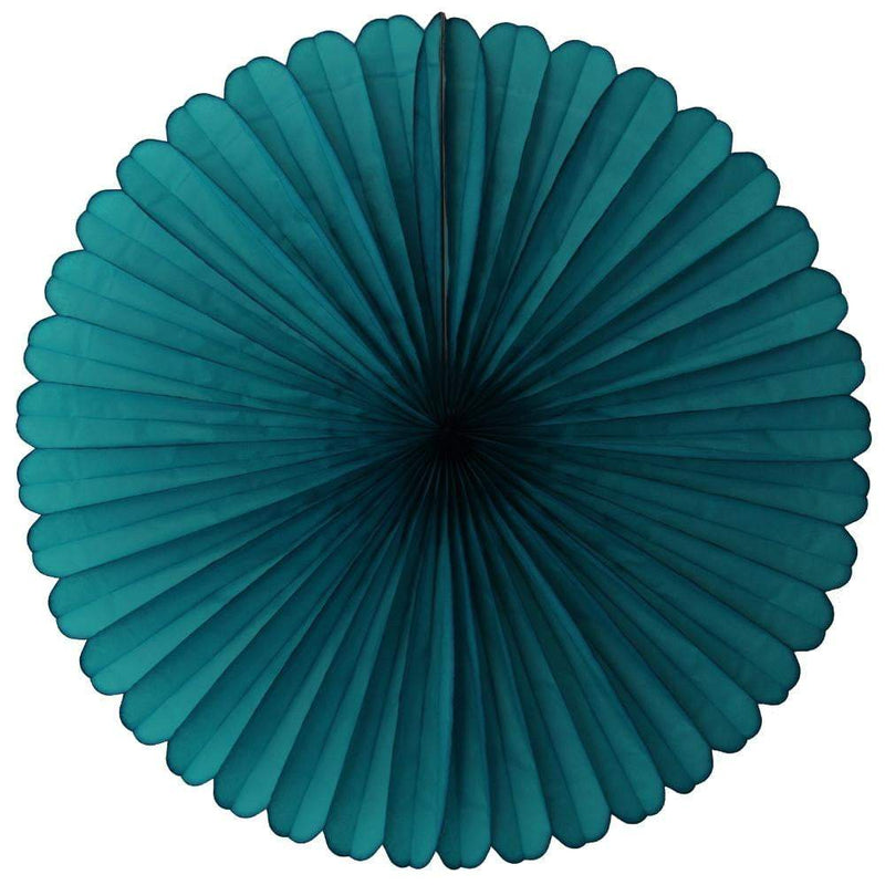 "13"" Teal Tissue Paper Fan"