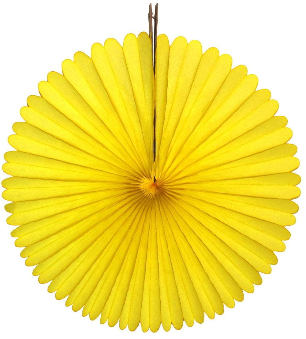 "13"" Yellow Tissue Paper Fan"