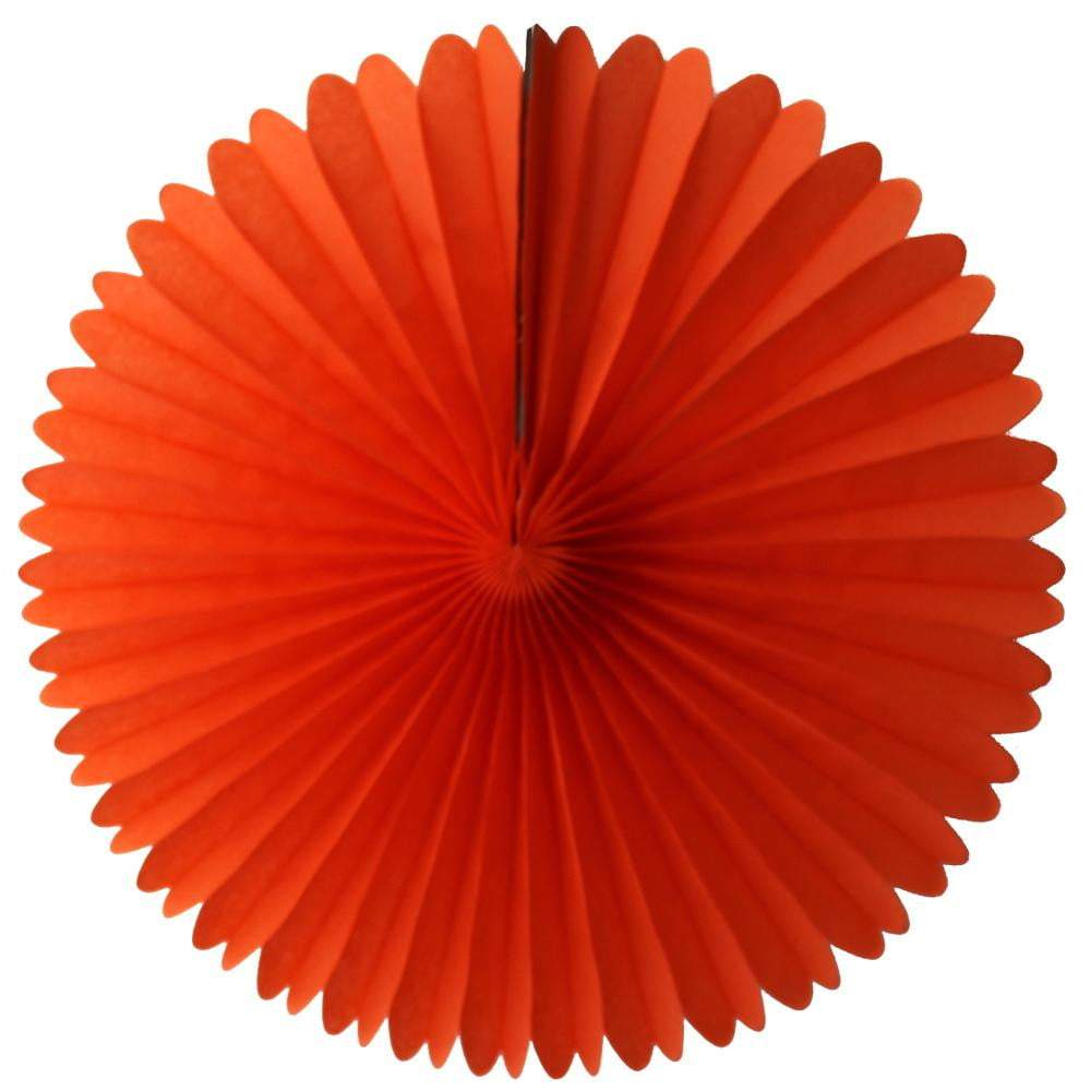 "13"" Orange Tissue Paper Fan 