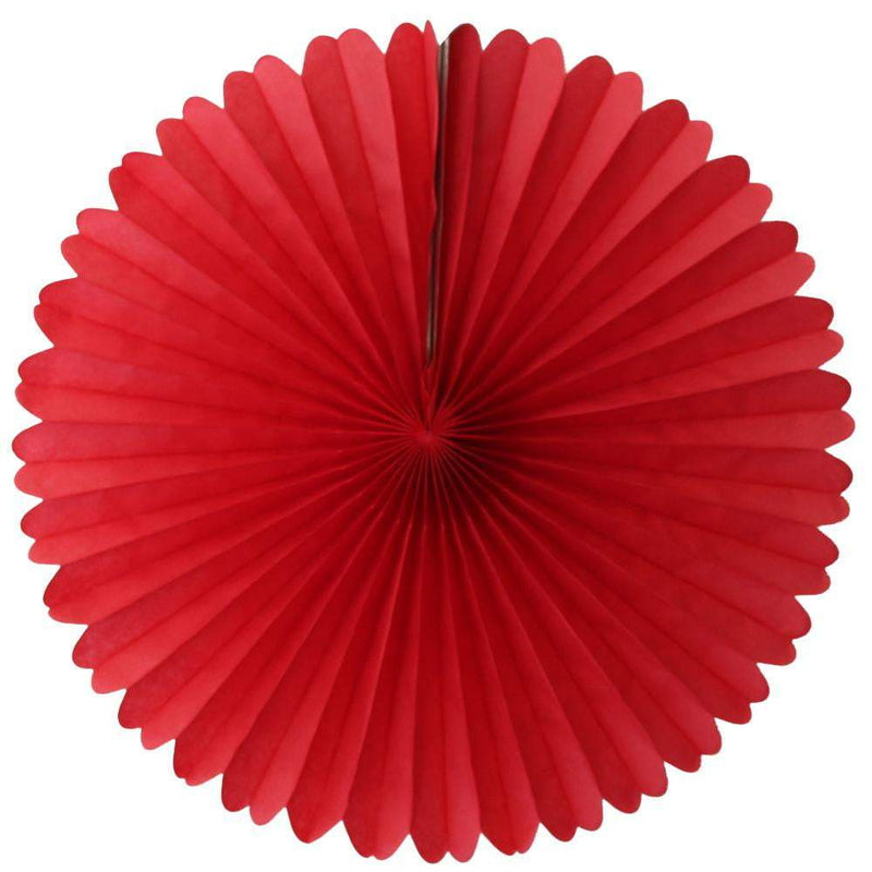 "13"" Red Tissue Paper Fan 