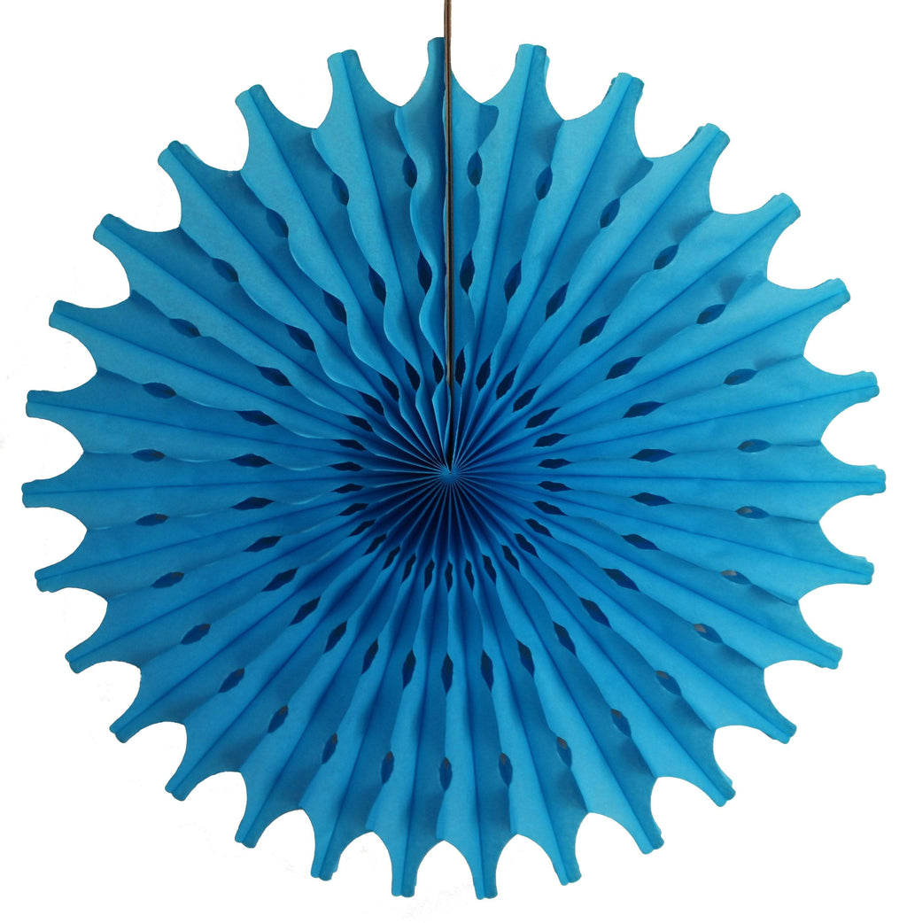 "18"" Turquoise Tissue Paper Fan 