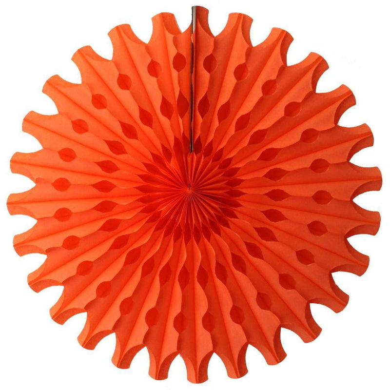 "18"" Orange Tissue Paper Fan 