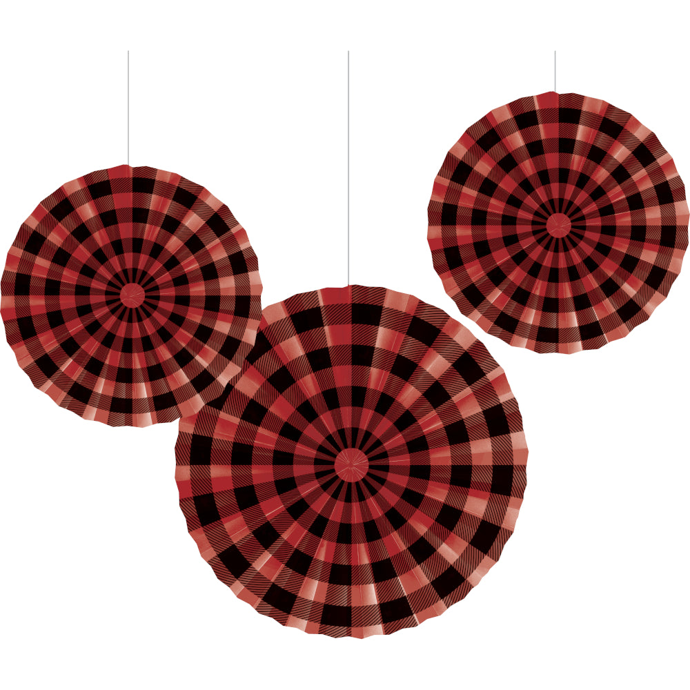 Buffalo Plaid Paper Party Fan Decorations | The Party Darling