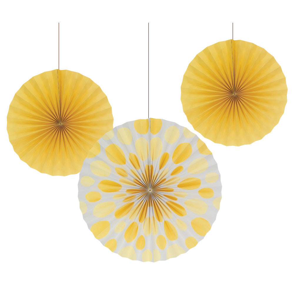 Yellow Dots Paper Party Fan Decorations | The Party Darling