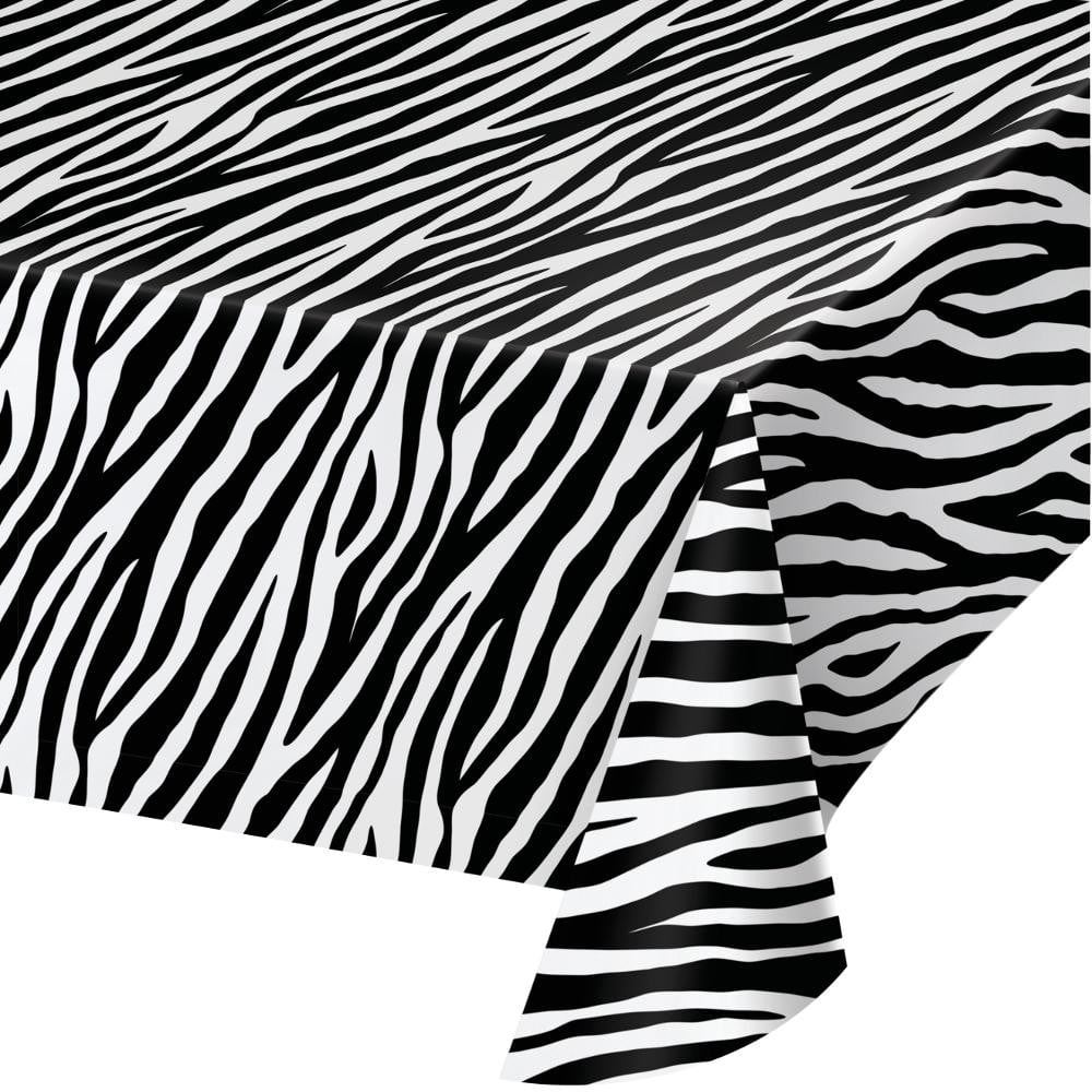 Zebra Print Plastic Table Cover
