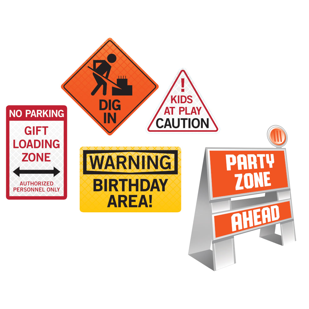 Under Construction Decoration Sign Set 5ct | The Party Darling