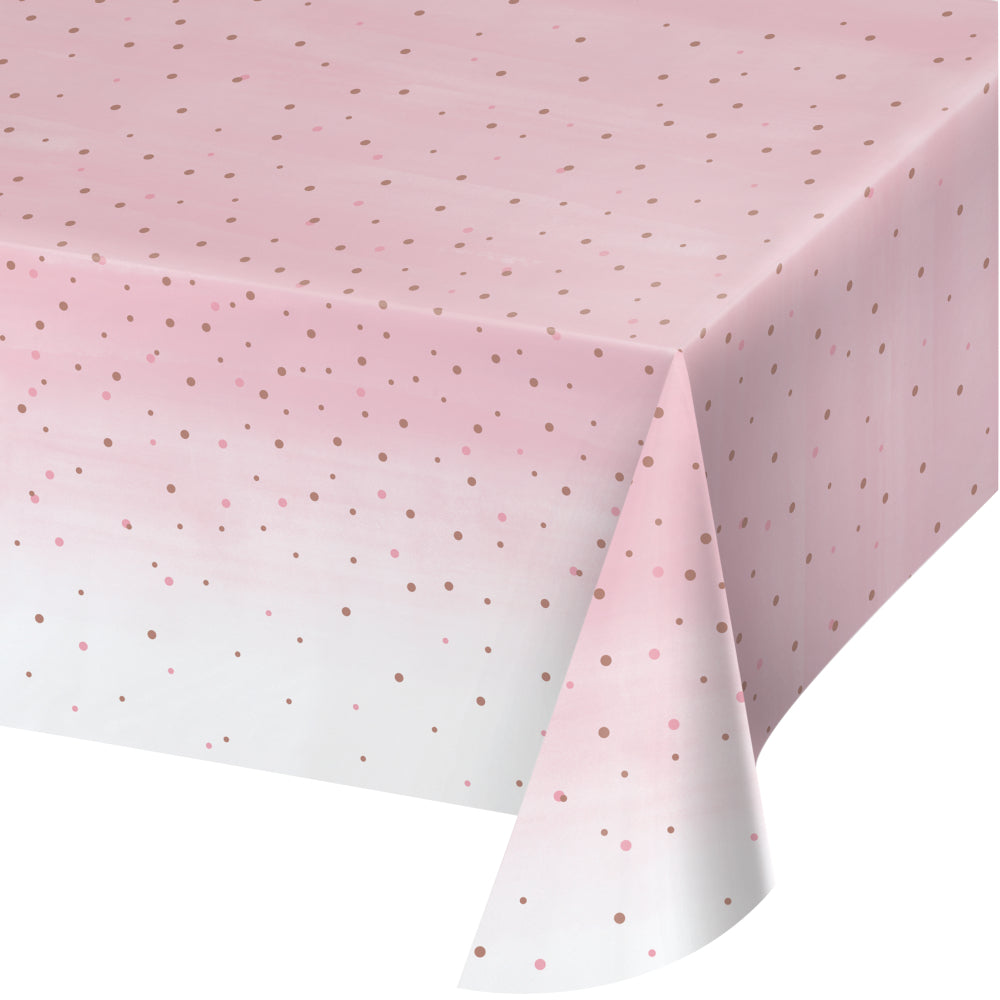 Blush and Rose Gold Plastic Table Cover | The Party Darling