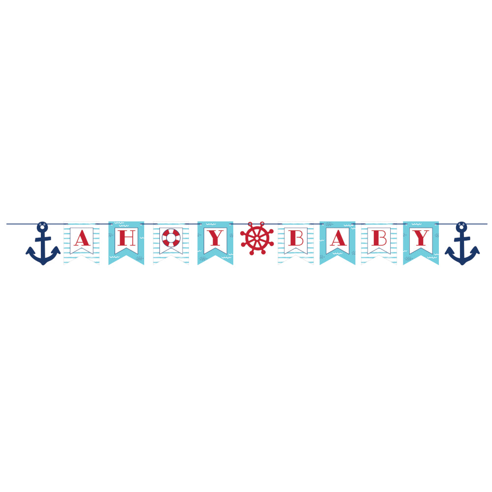 Ahoy Nautical Baby Shower Letter Banner 6ft | The Party Darling