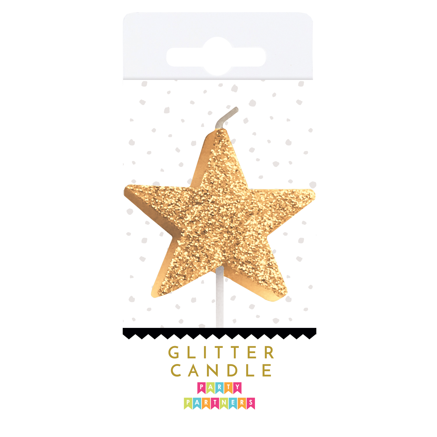 Gold Glitter Star Candle | The Party Darling