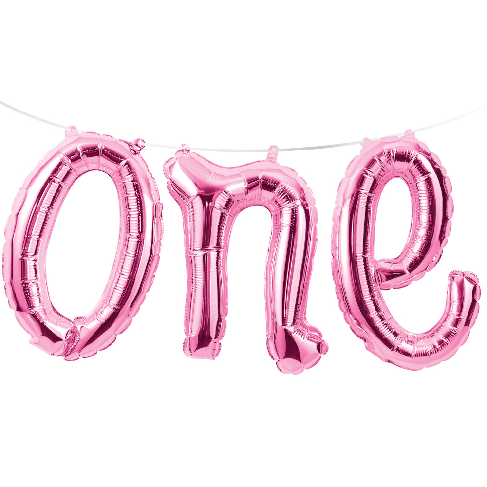 Air-filled Pink One Letter Balloon Banner | The Party Darling