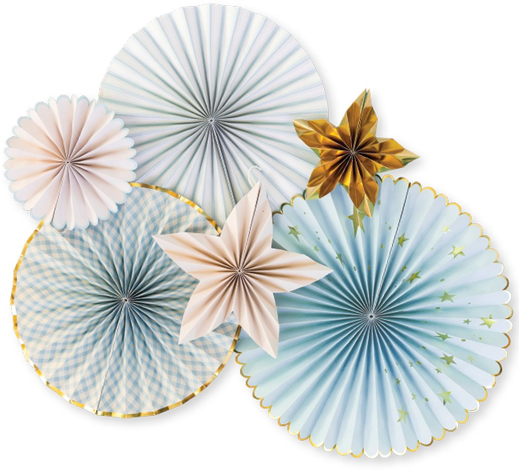 Baby Blue and Star Paper Fans