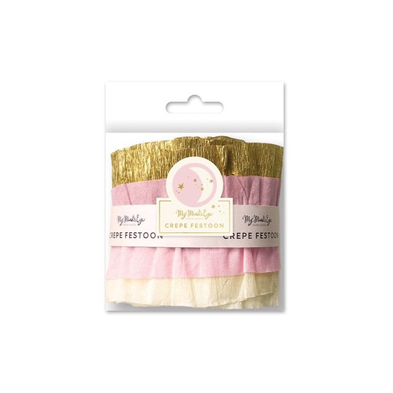 Baby Pink & Gold Crepe Paper Streamer