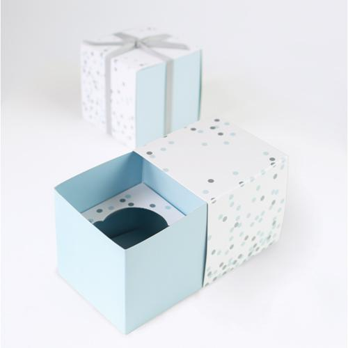 Baby Blue & Silver Confetti Cupcake Boxes | The Party Darling