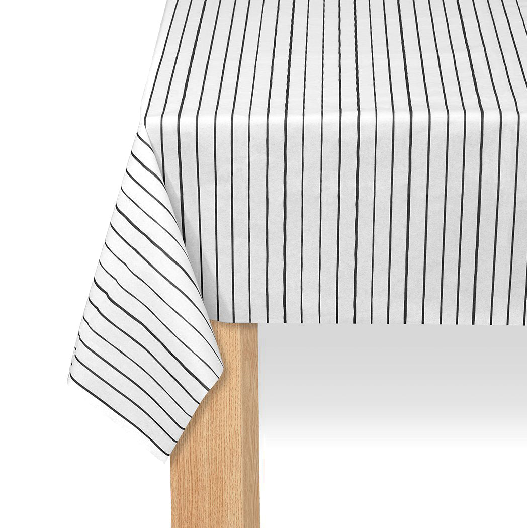 Black Pinstripe Paper Table Cover 8ft x4.5ft | The Party Darling