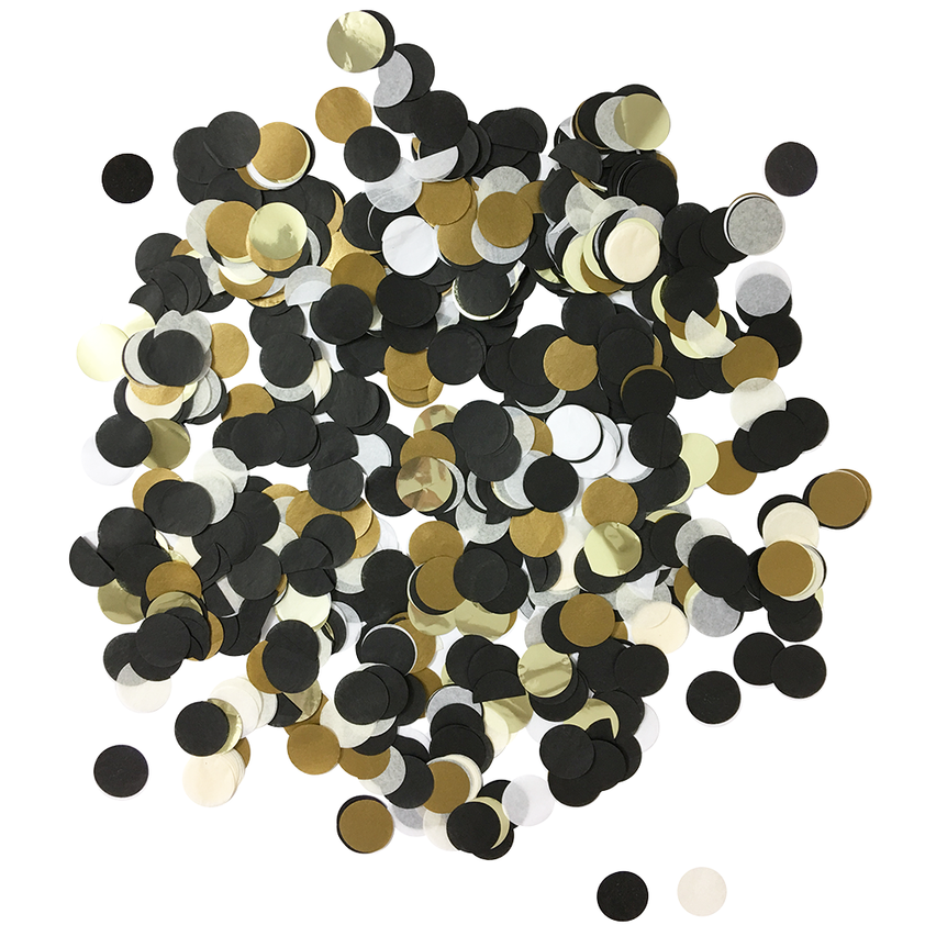 Black, White, & Gold Confetti Pack .5oz | The Party Darling